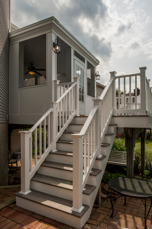 Screen Porch With Exquisite Ceramic Wood Plank Flooring