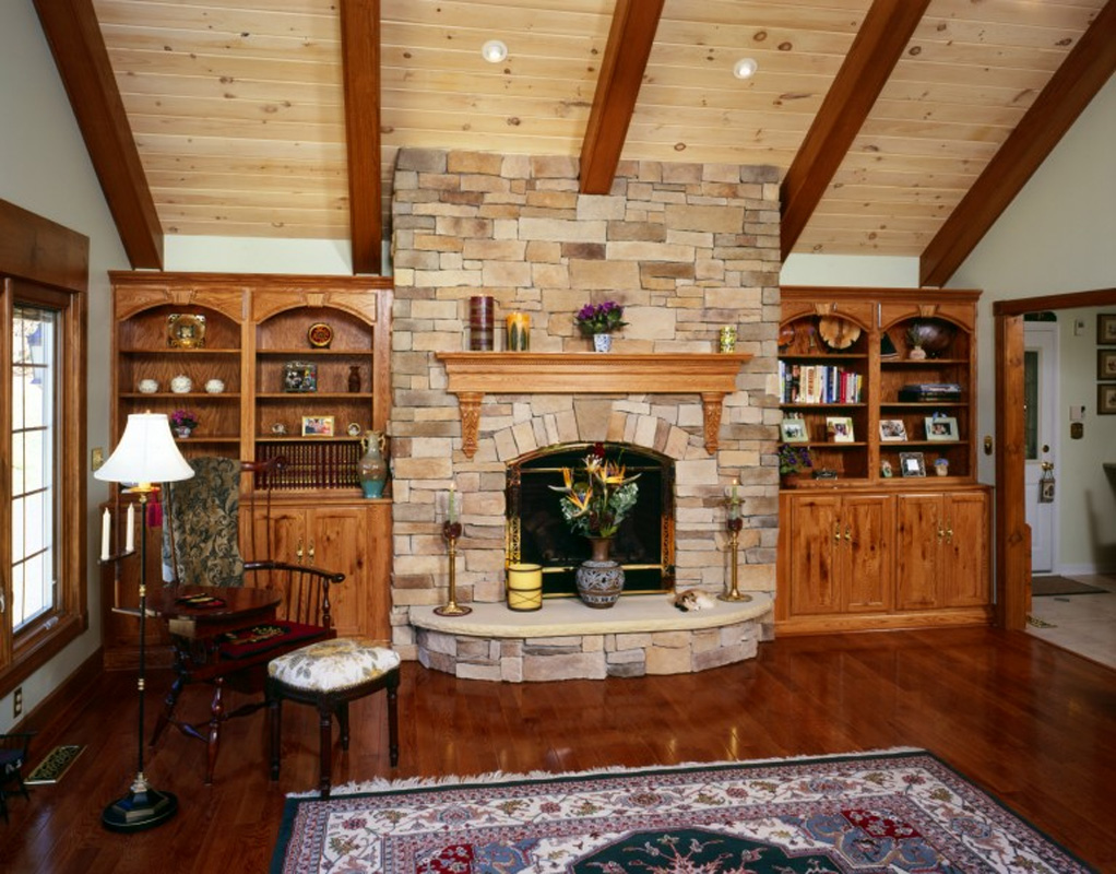 Rustic Lodge Family Room Addition Bel Air Construction
