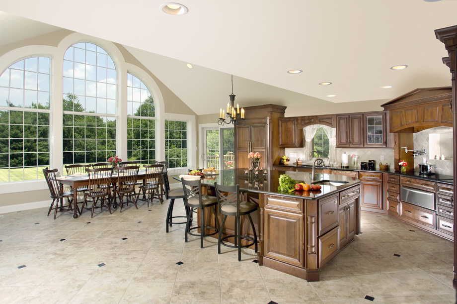 Bringing the outdoors in kitchen dining great room for Great room addition floor plans